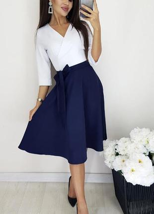 Платье женское классическое школьное на первый звонок батал черное белое синее
