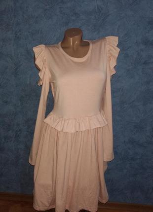 Нежнейшее платье миди с рюшами на плечах из натуральной ткани