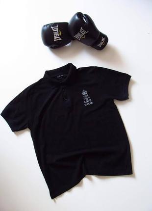 Черное мужское поло/ цвет насыщенный/состояние идеальное/размер указан l
