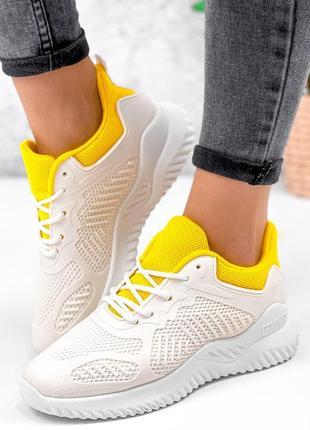 Кроссовки бело-желтые