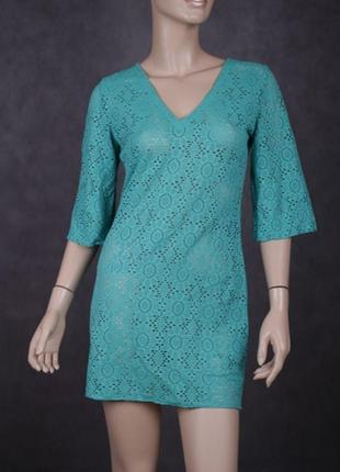 Бирюзовая пляжная туника платье сукня