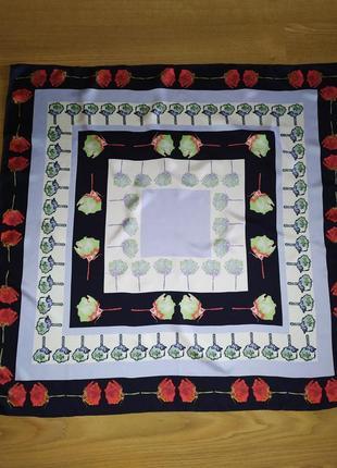 Французский роскошный фирменный платок из саржевого шелка, шов роуль, поп-арт