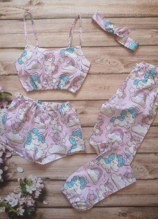 Розовая хлопковая пижама с единорогами, пижамные штаны, пижамные шорты, топ, летний комплект