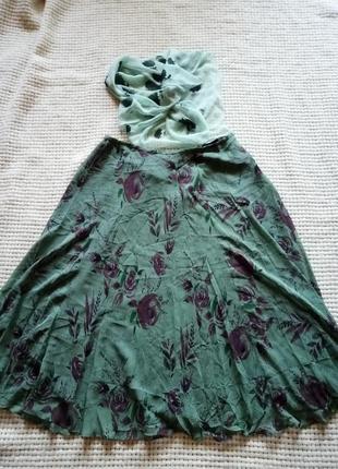 Шелк винтажный платок юбка на подкладке большой размер цветочный принт kreier и cc