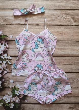 Детская хлопковая пижама, розовая, серенькая, голубая пижамка с единорогами