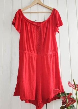 Красный ромпер  лен от george, размер xl-xxl