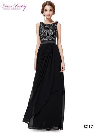 Шикарное вечернее платье в пол с вышивкой на груди