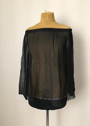 Шелковая полупрозрачная черная блуза от sportmax (max mara), размер m-l-xl