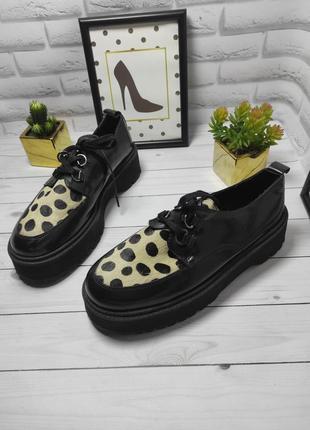 Натуральные кожаные туфли кеды на платформе криперы асос asos кожа