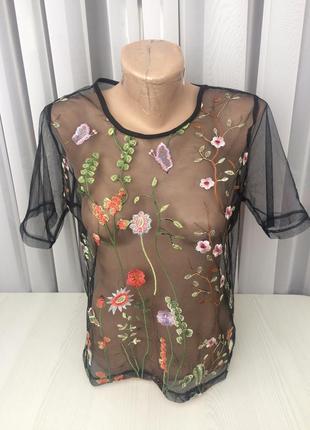 Блуза/сетка з вишивкою