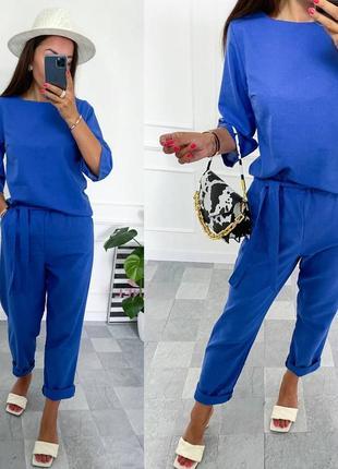 Льняной прогулочный костюм брюки с тканевым поясом вб.