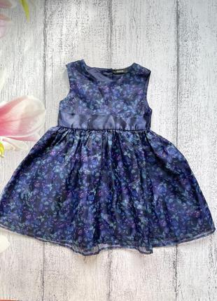 Красивое платье в бабочки с атласным поясом на подкладке george 2-3года