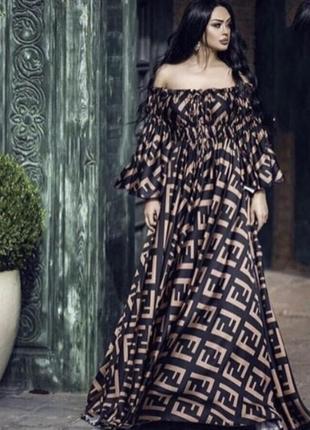 Платье длинное принт фенди
