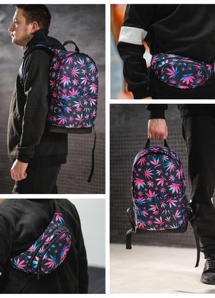 Комплект,набор рюкзак и бананка, поясная сумка ,принт гербарий