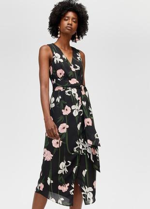 Шифоновое платье миди в цветы р.10 (м)