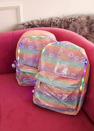 Розовые крутые рюкзаки с подсветкой