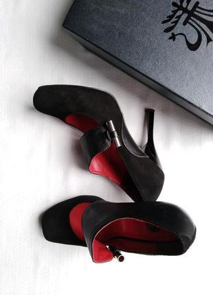 Туфли замш кожа giorgio vasari 24.5 см квадратный носок2 фото