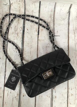 Итальянская кожаная сумка стёганая чёрная клатч жіночі шкіряні сумки