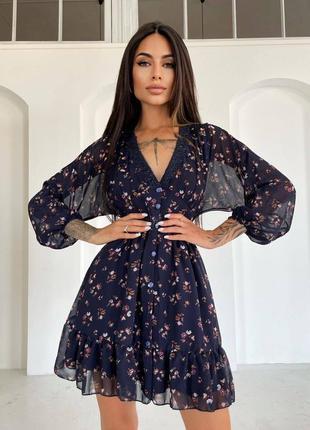 Шифоновое платье с кружевом цветочным принтом