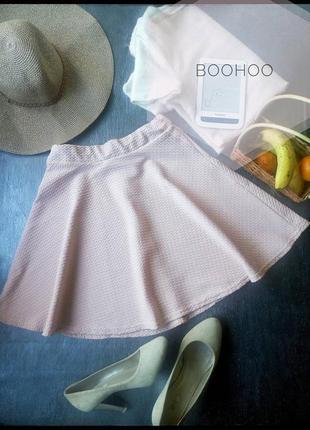 Пудровая юбка солнце клёш boohoo размер м