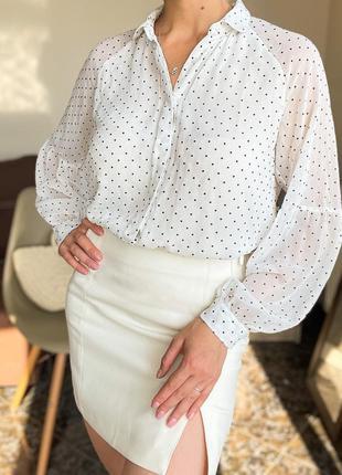 Нежная блузка в горошек, рубашка