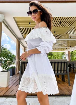 Платье мини из батиста белого цвета sn