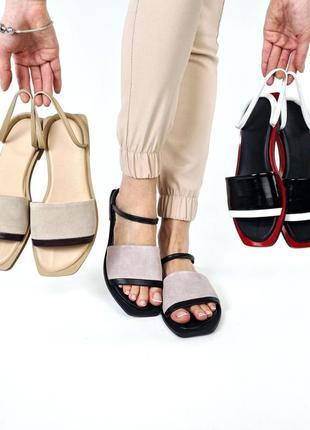 Стильные женские кожаные замшевые босоножки шлёпанцы