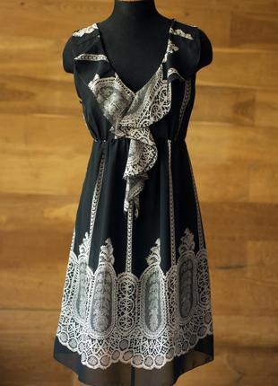 Шелковое черное коктейльное платье с геометрическим рисунком миди женское legende (франция), размер