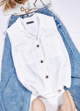 Льняная рубашка белая, женская рубашка белая однотонная, классическая рубашка, сорочка