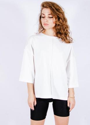 Женская базовая футболка молочная, жіноча базова футболка молочна