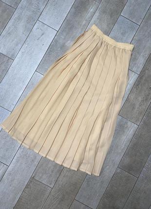 Желтая миди юбка плиссе,большой размер,батал(3)