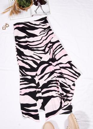Ассиметричная юбка миди, длинная юбка осенняя, стильная юбка с принтом