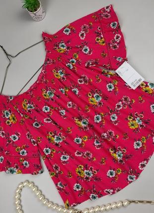 Блуза топ новая цветочная натуральная bershka s