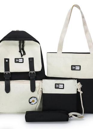 Новый стильный набор рюкзак(без ромашки), сумка шоппер , пенал, 4в1 (набор)