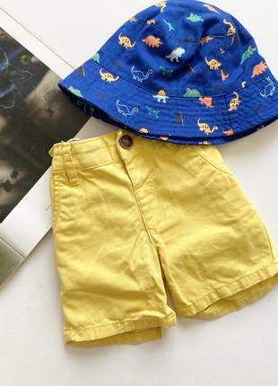 Желтые детские шорты с панамой 2-3 года