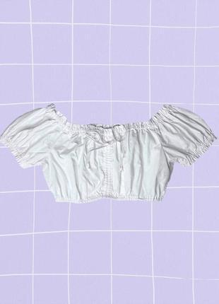 Белый короткий пляжный летний кроп топ на лето со спущенными плечами