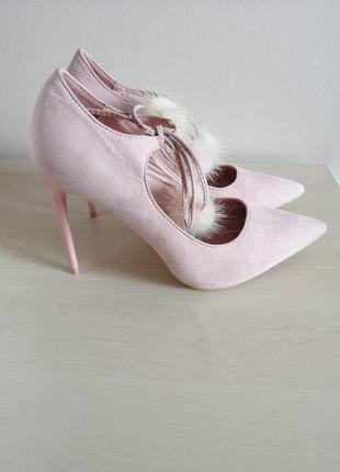 Лодочки на завязках туфли на шпильке туфлі на каблуках розовые туфельки