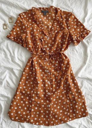 Платье в цветочный принт на пуговичках