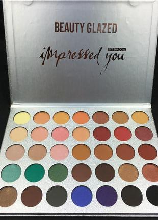 🎨🤗идеальная палетка теней для век beauty glazed impressed you powder eyeshadow palette (35 color)3 фото