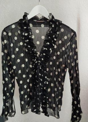 Стильная блуза на завязках в горох размер 34-38