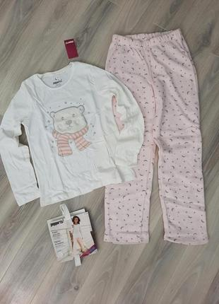 Пижама с флисовыми штанами pepperts 134/140, 146/152 см мишка