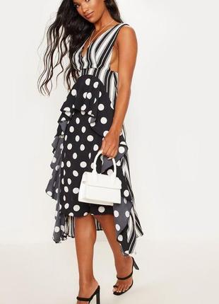 Prettylittlething.товар из англии.платье горошек в самых модных тенденциях.