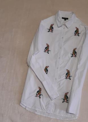 Белая натуральная свободная рубашка вышивка крокодилы длинный рукав хлопок  р.8 topshop