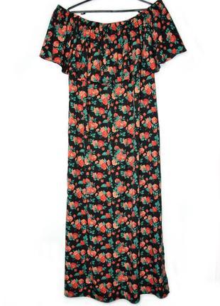 Роскошное летнее длинное платье макси с цветочным принтом и воланами