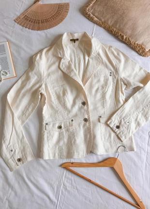 Льняной пиджак-куртка молочного цвета oasis (размер 40-42)