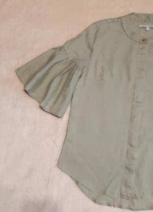 Льняная рубашка нежно оливковая красивый короткий рукав 100% лен р. 6 next petite
