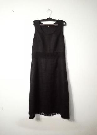 100% лен легкое льняное платье с кружевом