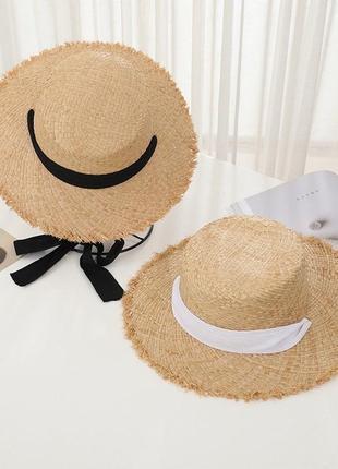 Соломенная шляпа 👒 с завязками пляжная шляпа женская