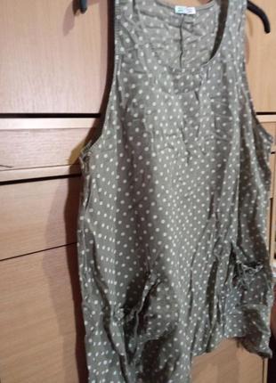 Батистовая блуза без рукавов в горох