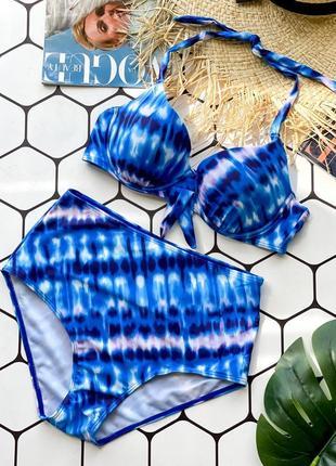 Купальник раздельный больших размеров с плотной твёрдой чашкой синий